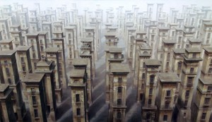 Stelenfeld 100 x 170 cm, 2007, Oel, Acryl auf Polyester/Leinwand