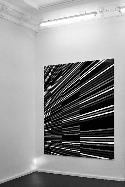 "B_76.5215, 2010, Lacquer and acrylic on canvas, 200 x 160 cm, Exhibition view, ""Alpha Floor"", dr. julius 