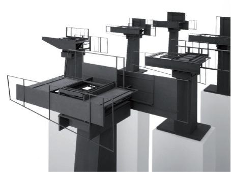 "Objektgruppe ""Plattformen"" 6-teilig, Holz, Karton, MDF, Acrylfarbe, jeweils ca. 37 × 48 × 24 cm, 2007"