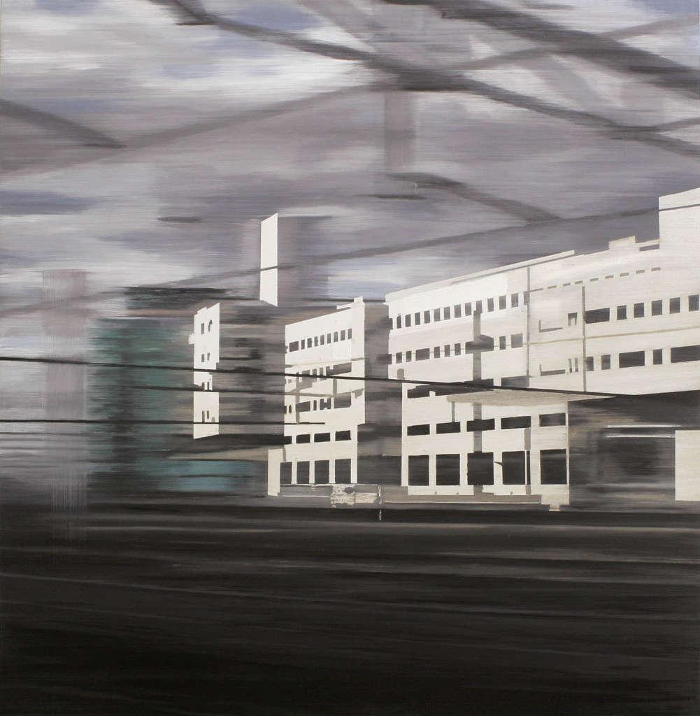 Jan Ros: Behind the station, 2010, Öl auf Holz, 125 x 122 cm