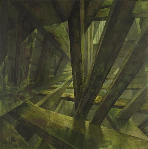 Ohne Titel (Moosraum2), 160 x 160 cm, Acryl auf Leinwand, 2011