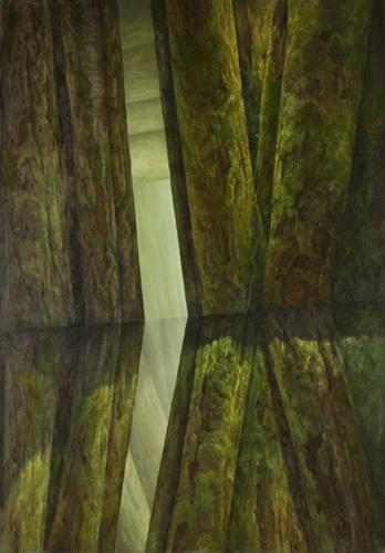 Ohne Titel (MoosraumX), 200 x 140 cm, Acryl, Öl auf Leinwand, 2011