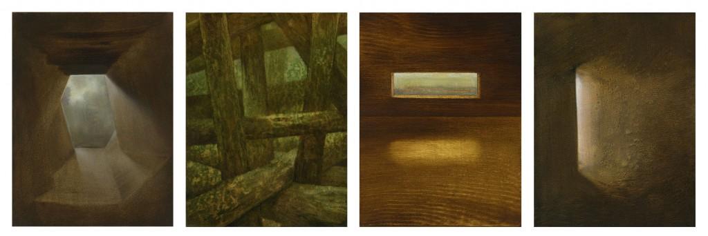 Ohne Titel (Serie), je 18 x 24 cm, Öl auf Holz, 2012