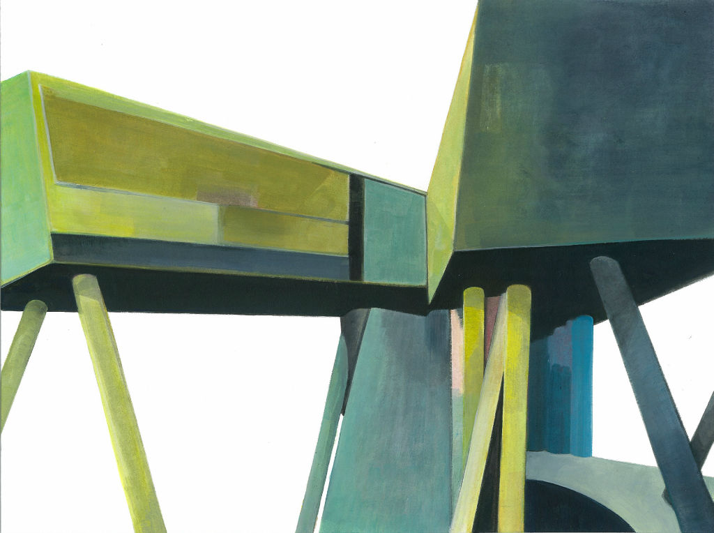 Behausungen No. 6 (Wien, Hadid), 2011, Acryl auf Karton, 24 x 32 cm