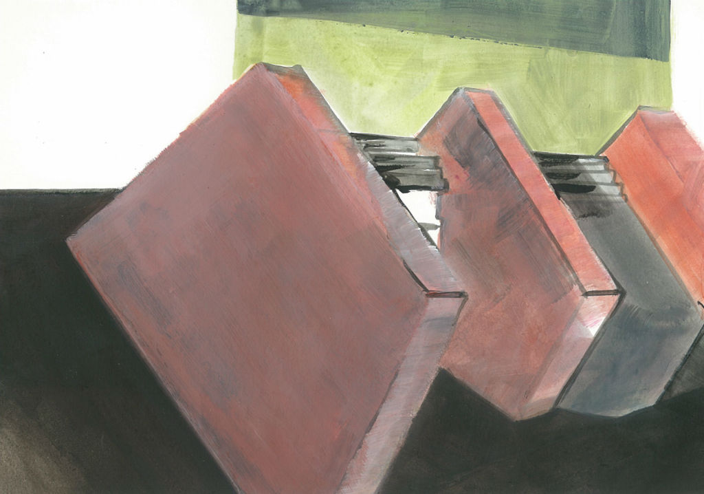 FrankfurtODERMain No. 4 (Brunnenplatz), 2009, Acryl auf Papier, 15 x 21 cm (Privatbesitz)