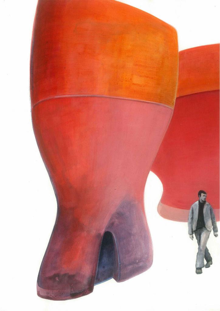 ganz woanders (Tower), 2012, Acryl auf Papier, 21 x 29,7 cm
