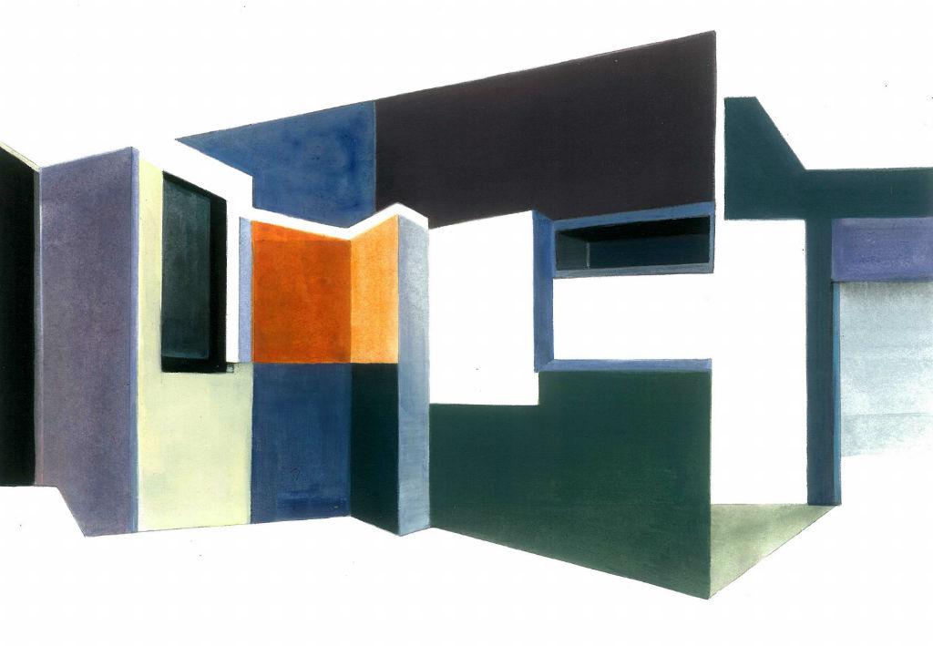 Hommage an HS (Haus Schlemmer, Atelier), 2012, Acryl auf Baumwollpapier, 18 x 26 cm