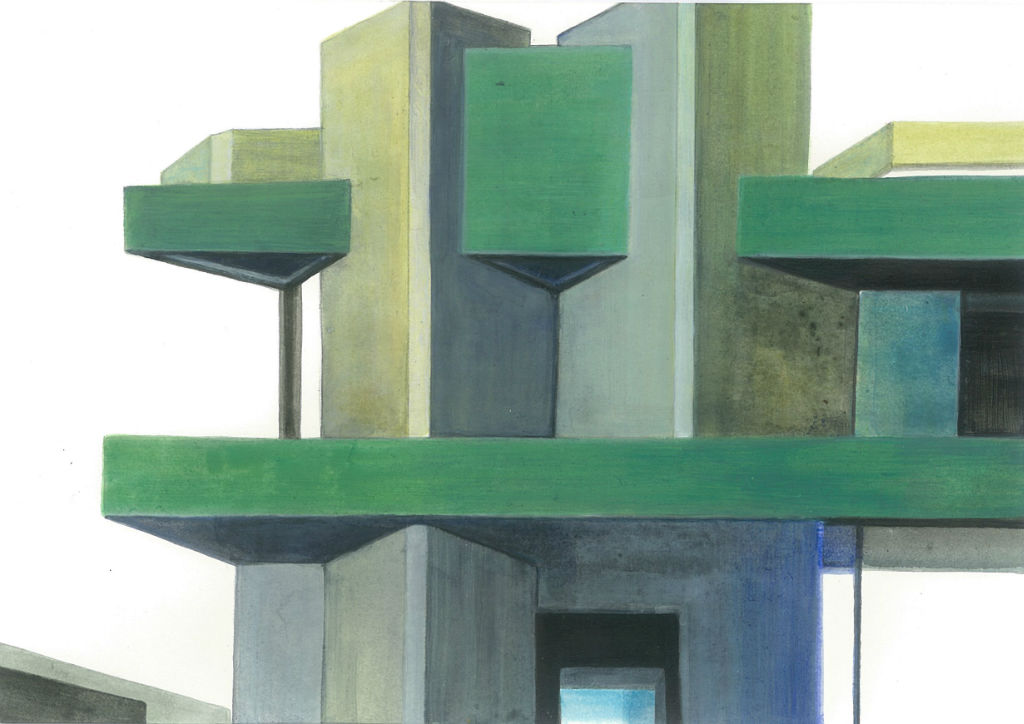 Plotting the City No. 18 (National Theatre London), 2012, Acryl auf Papier, 15 x 21 cm (Privatbesitz)