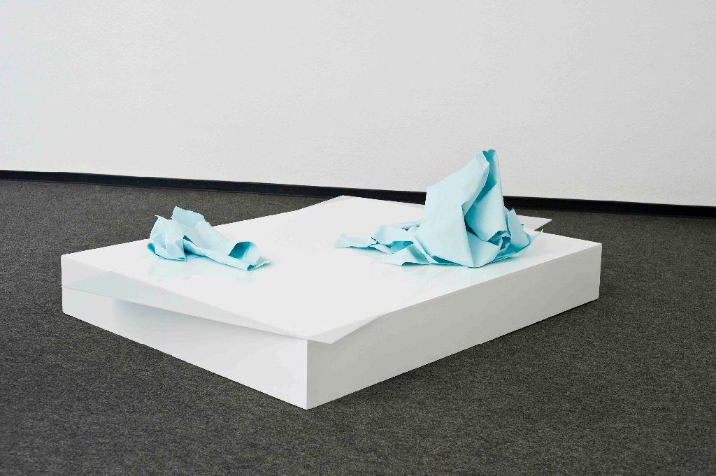 zwischenzeitlich vollkommen, Papier, Farbe, Plexiglas, Holz, 90 x 130 x 53 cm, 2011