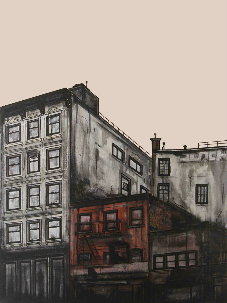 "Canal Street Part 1"" Mixed Media on Canvas 2012"