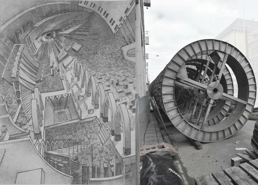 Svetlana Dineva, Fremdkörper im Auge (Baustelle-Rad) , Collage (Aquarell, Tusche, Fotografie), 2014
