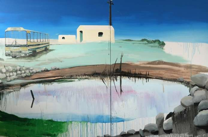 Greek Home - Backside, Öl auf Leinwand, 200 x 300 cm (2-teilig) 2014