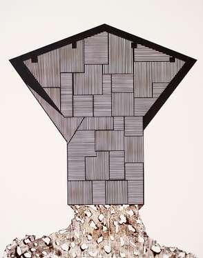 Haus Zweiundzwanzig, 2016, Messerschnitt, Papier auf Leinwand, 100 x 80 cm