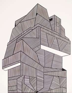 Haus Dreiundzwanzig, 2016, Messerschnitt, Papier auf Leinwand, 100 x 80 cm