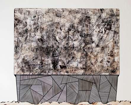Halle, 2016, Messerschnitt, Papier auf Leinwand, 80 x 100 cm