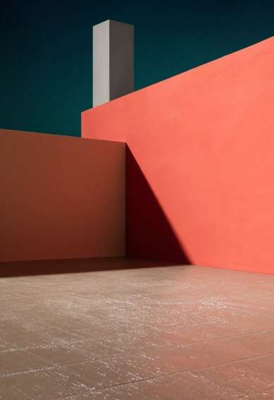 Courtyard with Orange Wall, 2017 framed archival pigment print mounted to dibond paper: 64 3/8 x 44 3/8 inches (163.5 x 112.7 cm) framed: 67 x 47 x 2 1/4 inches (170.2 x 119.4 x 5.7 cm) edition of 5 with 2 APs JC-261