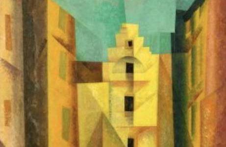 """Lyonel Feininger (1871 – New York – 1956) """"Gelbe Gasse"""" (auch """"Gasse I"""", """"Yellow Lane""""). 1932 Öl auf Leinwand. 100×80 cm Unten links signiert und datiert: Feininger 32. Auf dem Keilrahmen oben links mit Feder in Schwarz signiert, datiert und betitelt: Lyonel Feininger 1932 """"Gasse I""""."""