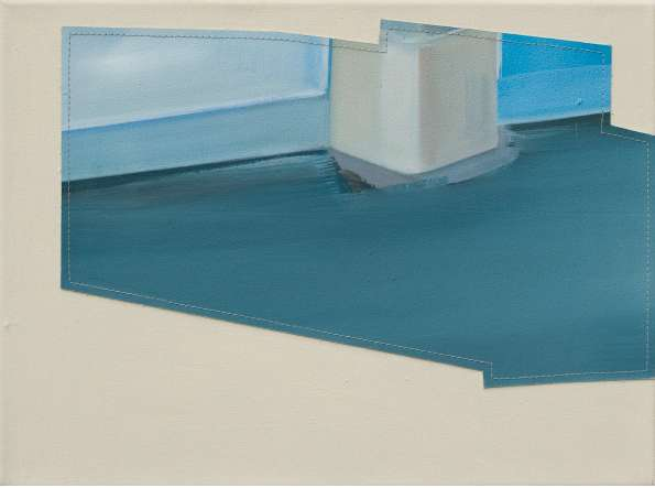 stück, 2011, Öl auf Leinwand genäht, 30 x 40 cm