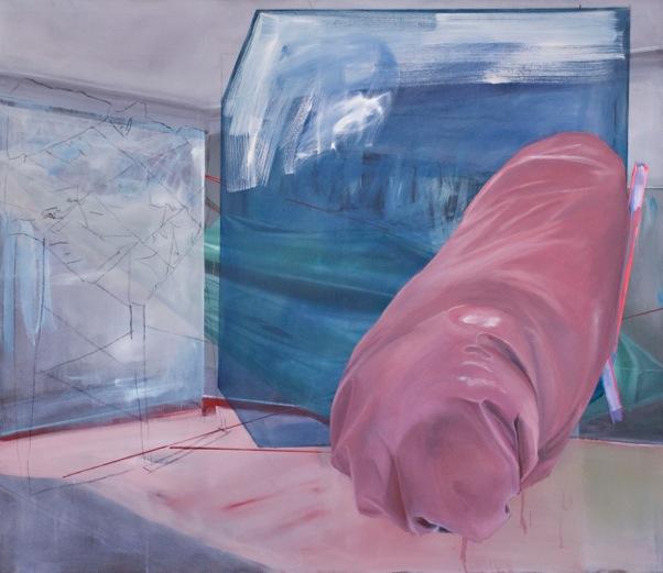 pinke wurst, 2016, 130 x 150 cm, Öl auf Leinwand