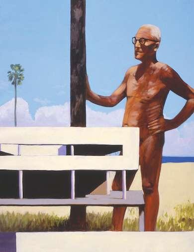 El arquitecto desnudo (Le Corbusier y Brassaï en Argelia), 2002. Oil on canvas. 100 x 81 cm.