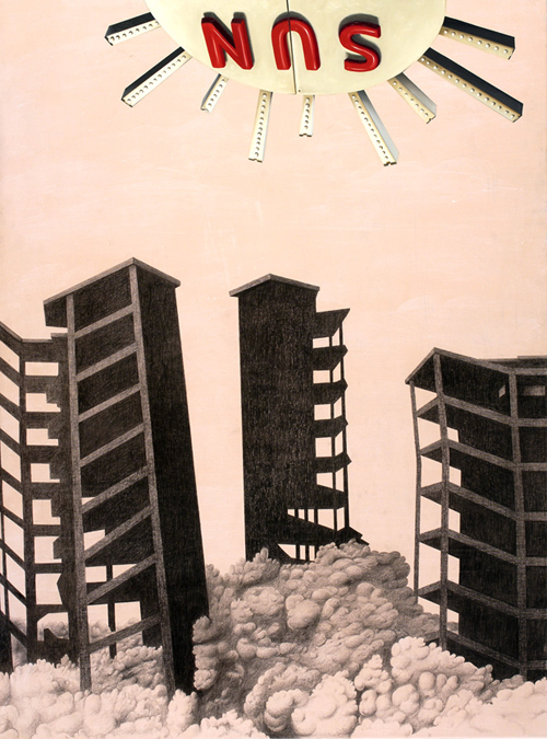 Nuevo amanecer, graphite and oil on canvas, 130 x 97, cm, 2007