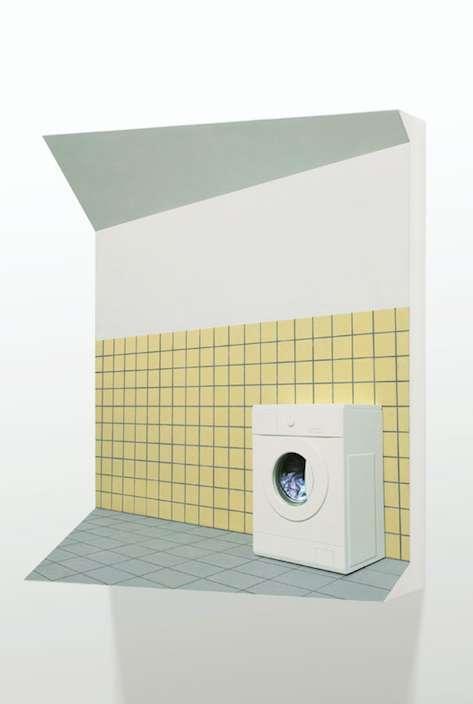 Wasmachine, 2013, MDF, Alkyd Verf., LCD-Monitor, 60 x 75 x 27 cm