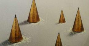 Wolfgang Laib, Die Reismahlzeitne, 1986, fünf Messingkegel und Reis, je Druchmesser/Höhe 15,4/28 cm, 13,6/25,2 cm, 13,6/25 cm, 8,8/16,5 cm, 8,5/15,5 cm; Sammlung Landesband Baden-Württemberg