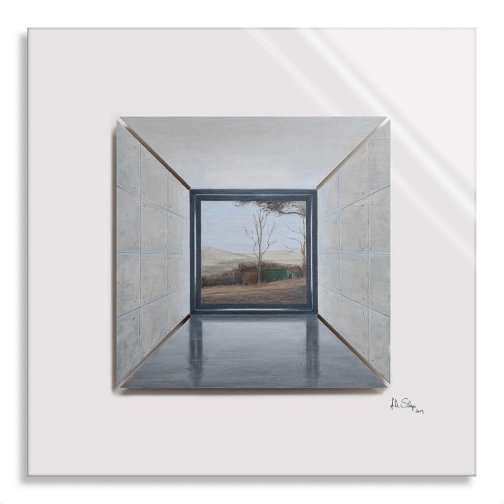 CUT! - RaumSchnitt I/IX Holz mit Acrylfarbe auf Plexiglas, 50 x 50 cm, 2019