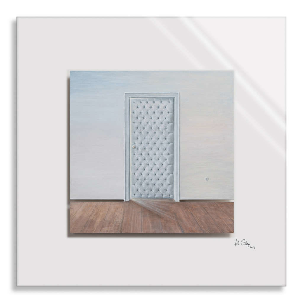 CUT! -RaumSchnitt V/IX Holz mit Acrylfarbe auf Plexiglas, 50 x 50 cm, 2019