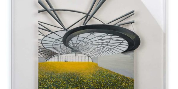Architektur trifft Natur I/X: Ein- & Aufgangs-T-räume I Holz mit Acrylfarbe auf Plexiglas, 75 x 75 cm, 2016