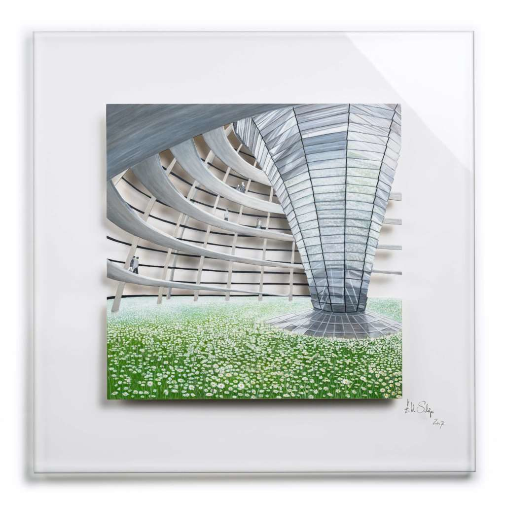 Architektur trifft Natur V/X:  Ein- & Aufgangs-T-räume V Holz mit Acrylfarbe auf Plexiglas, 75 x 75 cm, 2017