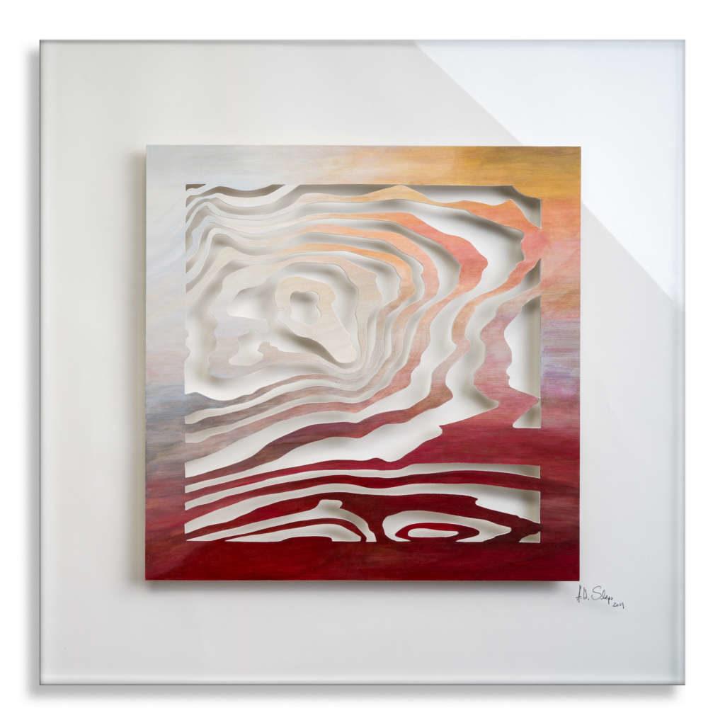 Lebenslinien Holz mit Acrylfarbe auf Plexiglas, 75 x 75 cm, 2019